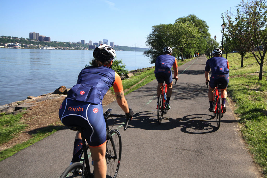 Roula Cycling on the Hudson River Park bike path