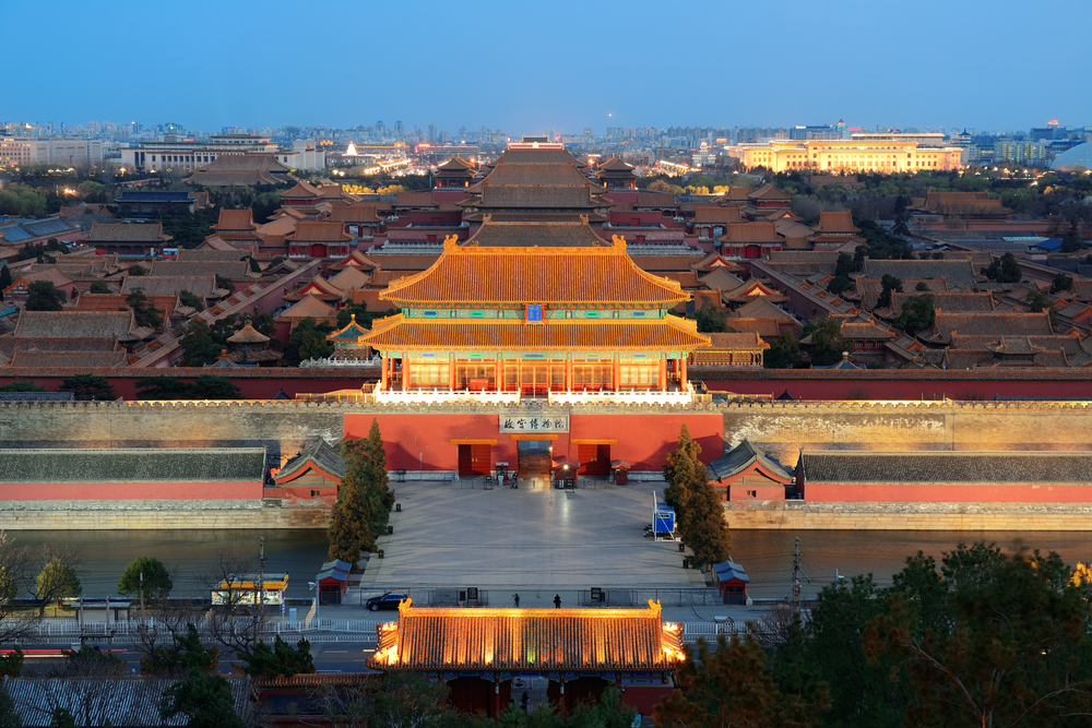 Beijing Forbidden City at dusk with ancient pagoda architecture.