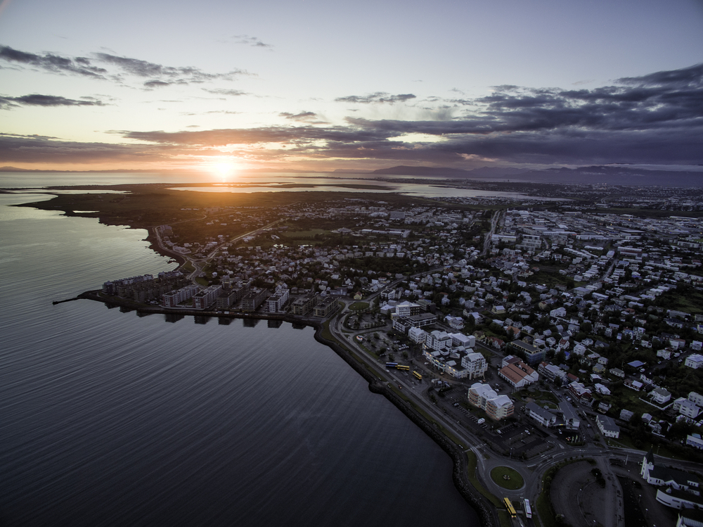 midnight sun sunset over Reykjavik city in Iceland