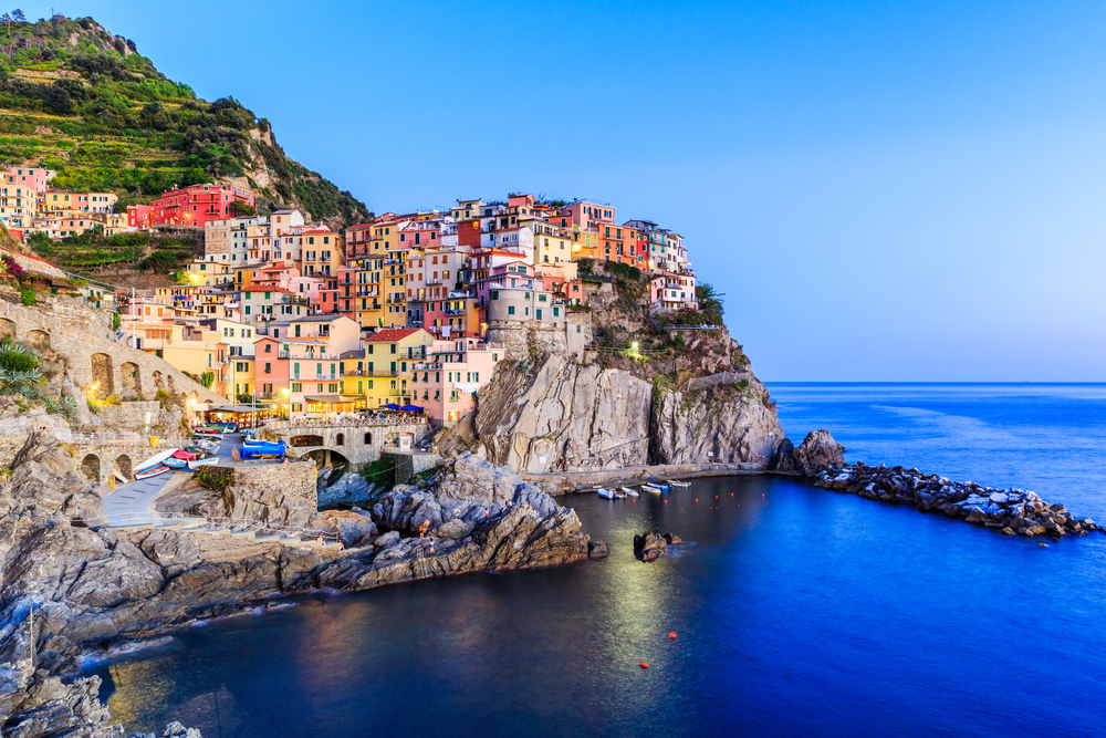 Cinque Terre. Manarola village at twilight, Liguria Italy.
