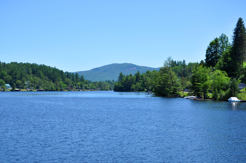 Lake Flower in village of Saranac Lake in Adirondack Mountains, New York