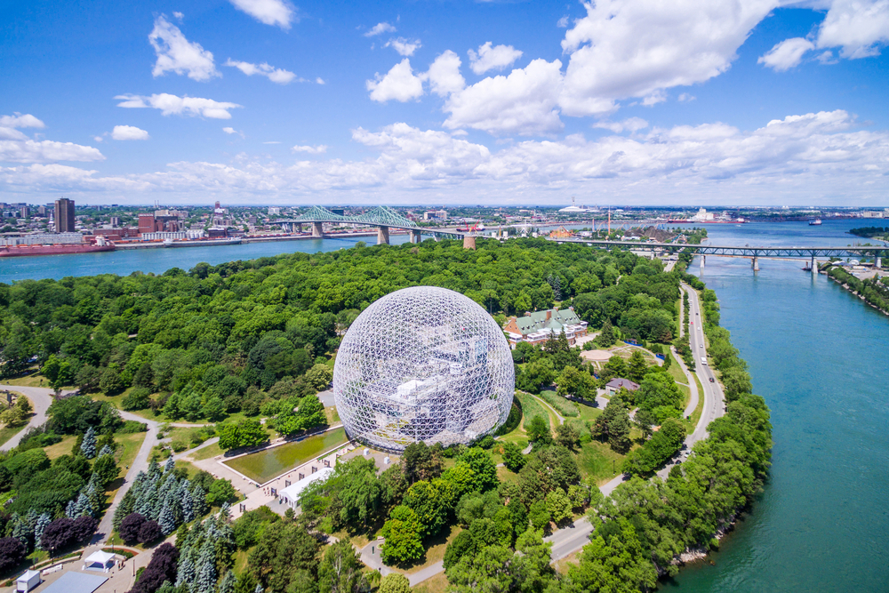 Parc Jean-Drapeau and the St. Laurent River in Montreal, Quebec