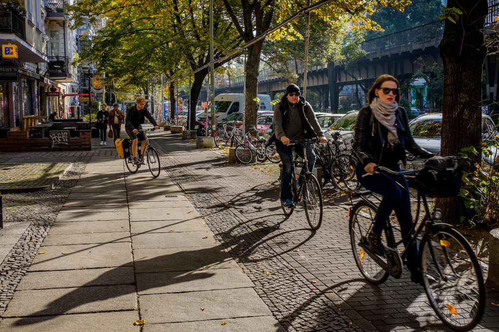 Kreuzberg district bike path in Berlin, Germany