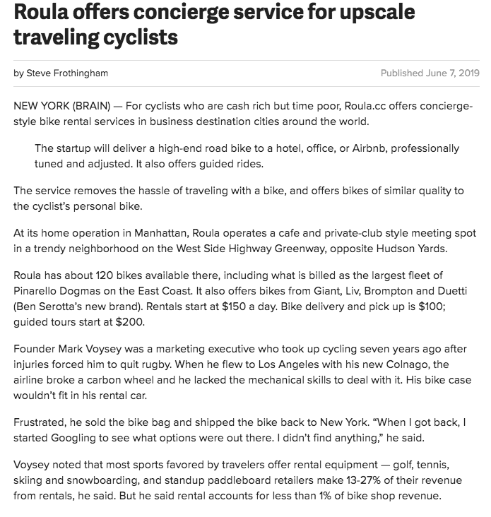 Bicycle retailer article 1