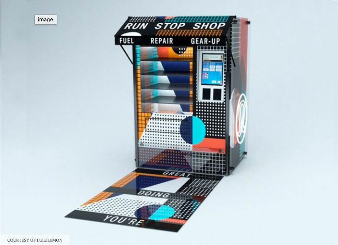 Lululemon vending machine at Roula